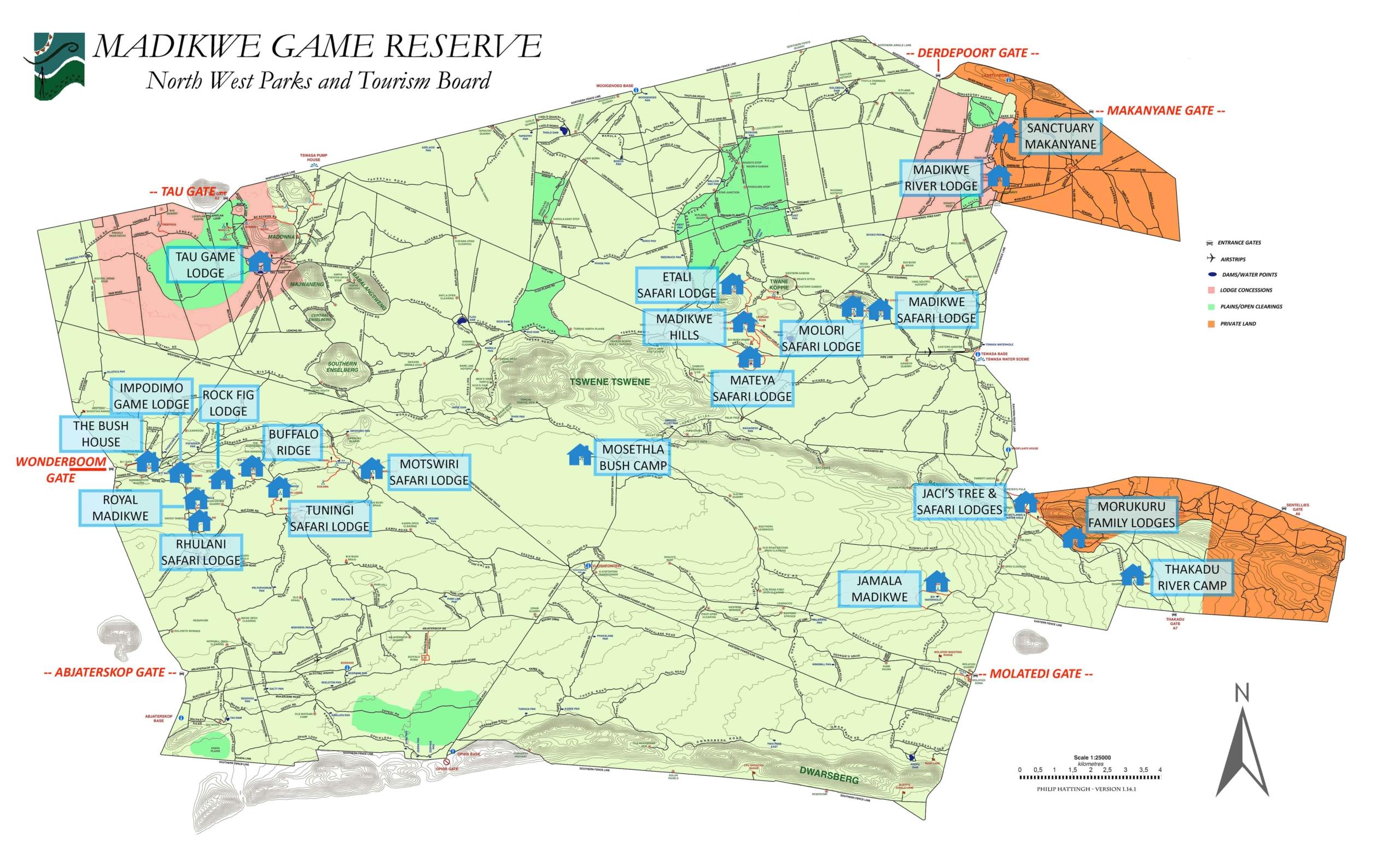 Carte de la réserve de Madikwe et les lodges